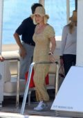 Katy Perry seen wearing a patterned jumpsuit as she enjoys a boat ride in Ibiza, Spain