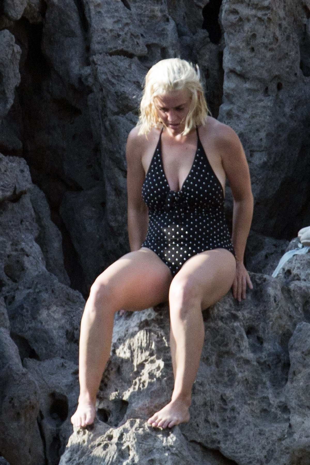 Katy Perry sports a polka dot swimsuit as she enjoys an adventurous day with Orlando Bloom in Mallorca, Spain