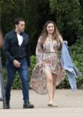 Kelly Brook and Jeremy Parisi seen arriving for the House Festival at Hampstead Heath in London, UK