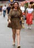 Kelly Brook looks pretty in a summer dress as she leaves Global Radio Studios in London, UK