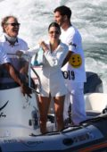 Kendall Jenner enjoys time in the ocean while onboard a yacht with friends during 4th of July in Malibu, California