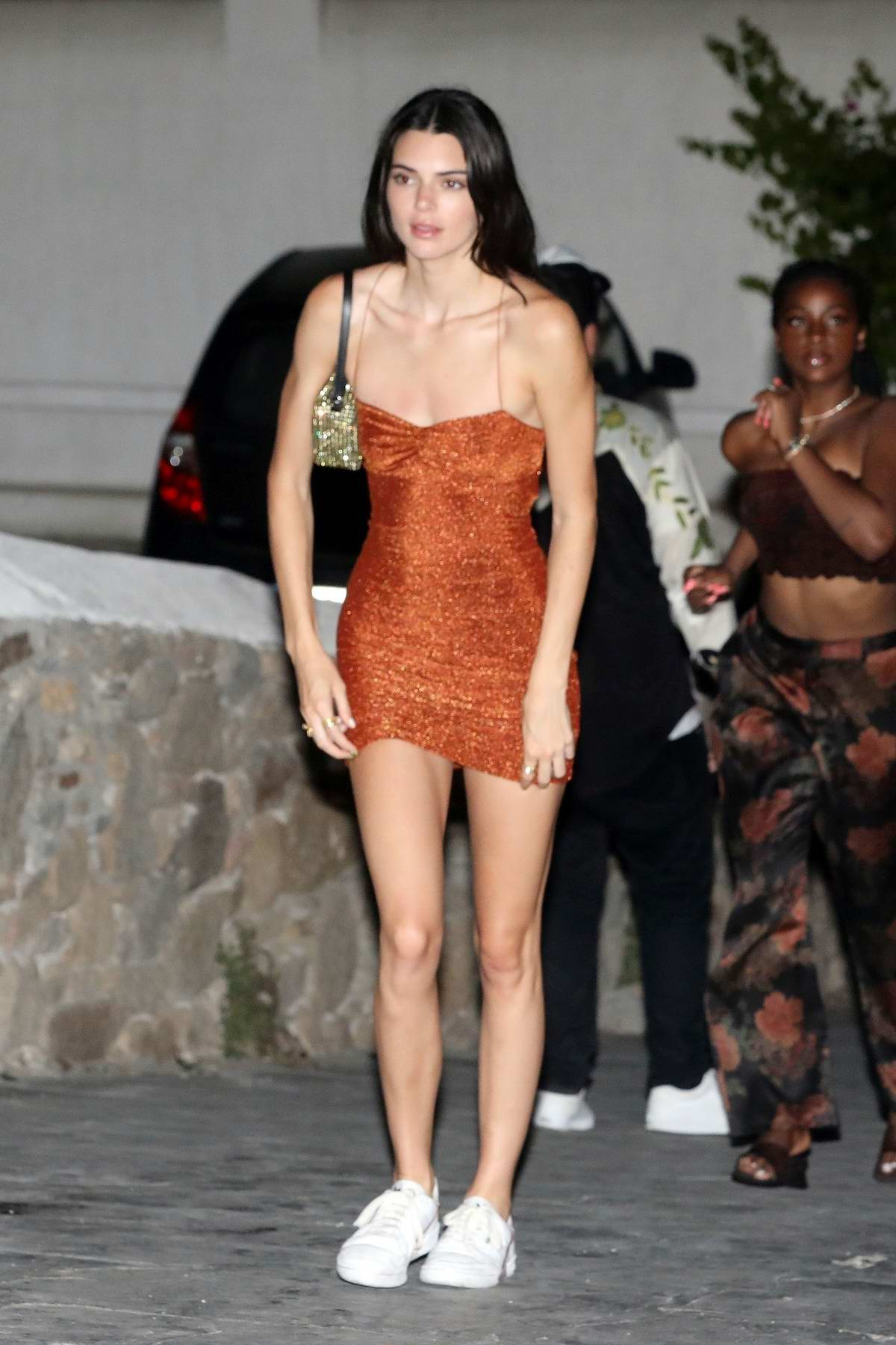 Kendall Jenner heads for a night out with friends at a beach nightclub in Mykonos, Greece