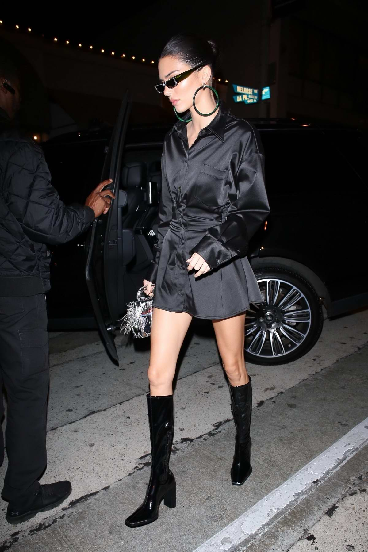 Kendall Jenner rocks all black as she arrives for Larsa Pippen's birthday party at Craig's in West Hollywood, Los Angeles