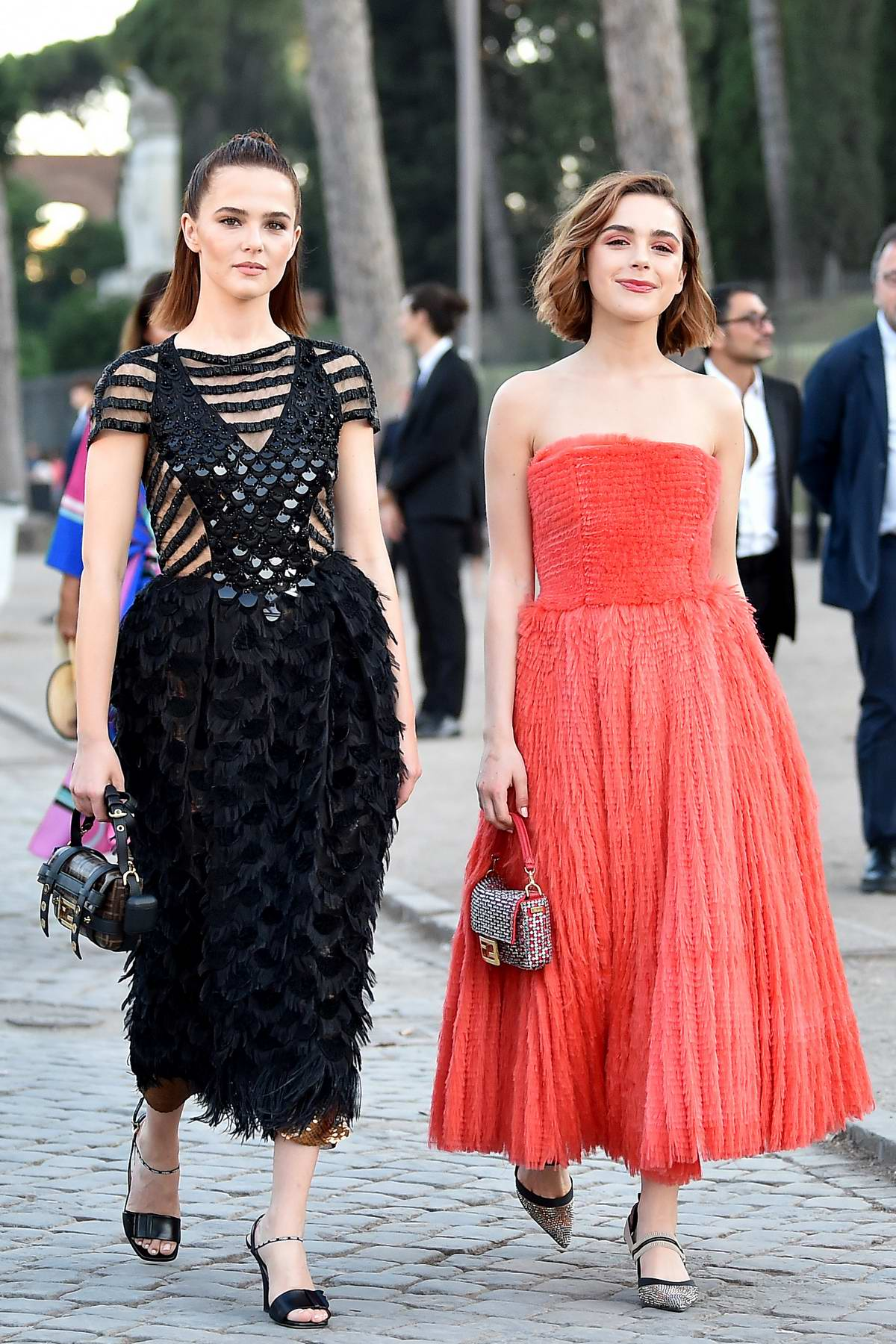 Kiernan Shipka and Zoey Deutch attend the Cocktail and Fendi Couture Fall/Winter 2019/20 at Palatine Hill in Rome, Italy