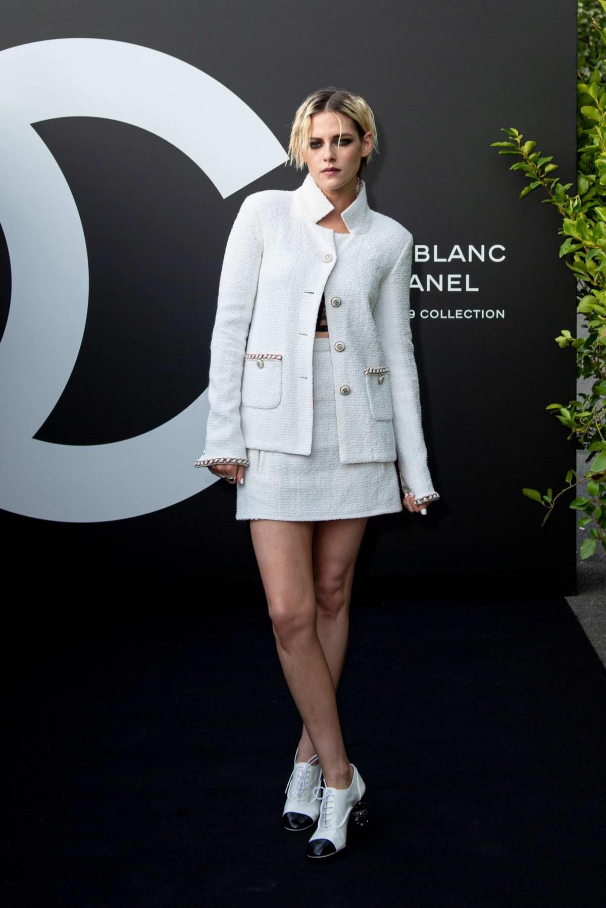 Kristen Stewart attends the Noir et Blanc de Chanel F/W 2019 'Yachts De Paris' Makeup Collection launch in Paris, France