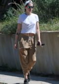 Kristen Stewart keeps it casual while taking her dog out for a walk in Los Feliz, California