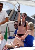 Kristen Stewart spotted in a black bikini while relaxing on a yacht with Stella Maxwell in Amalfi Coast, Italy