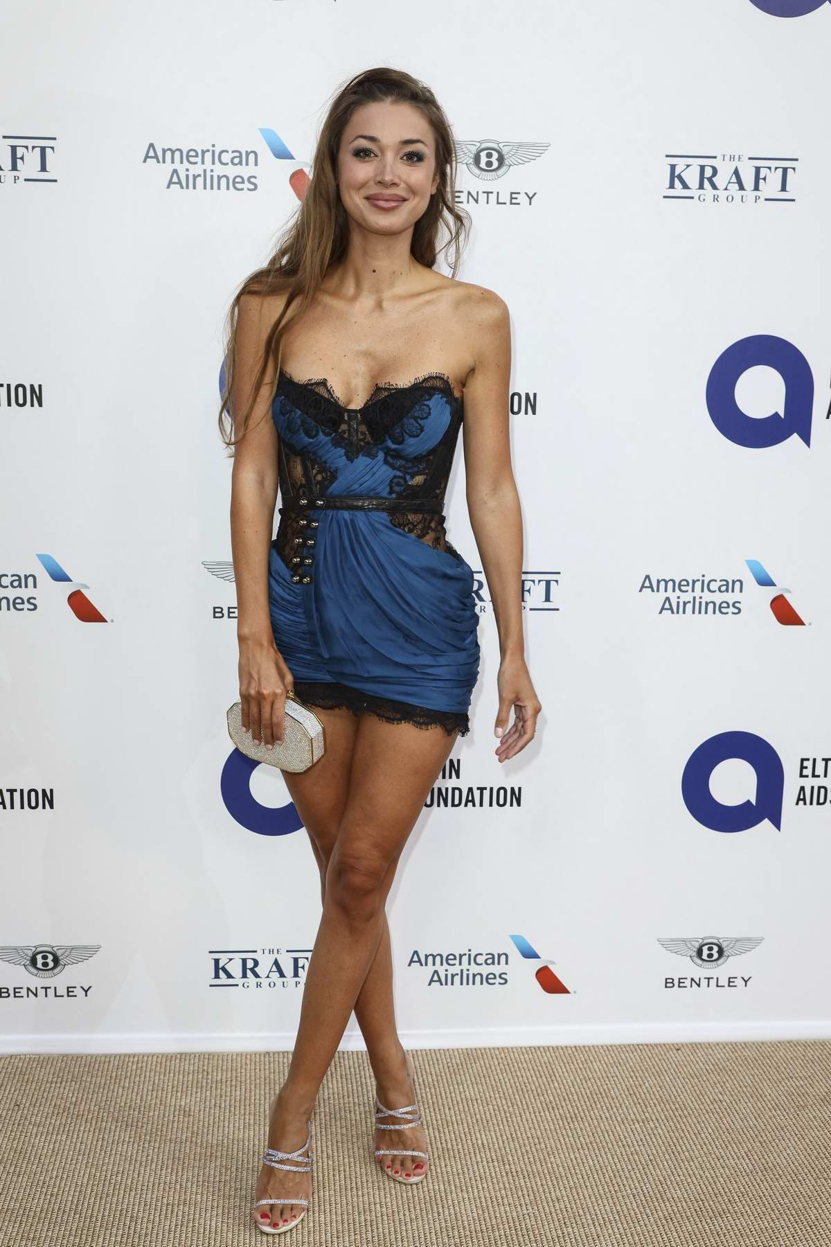 Lara Leito attends the Midsummer Party to benefit the Elton John AIDS Foundation held at Villa Dorane, Antibes, France