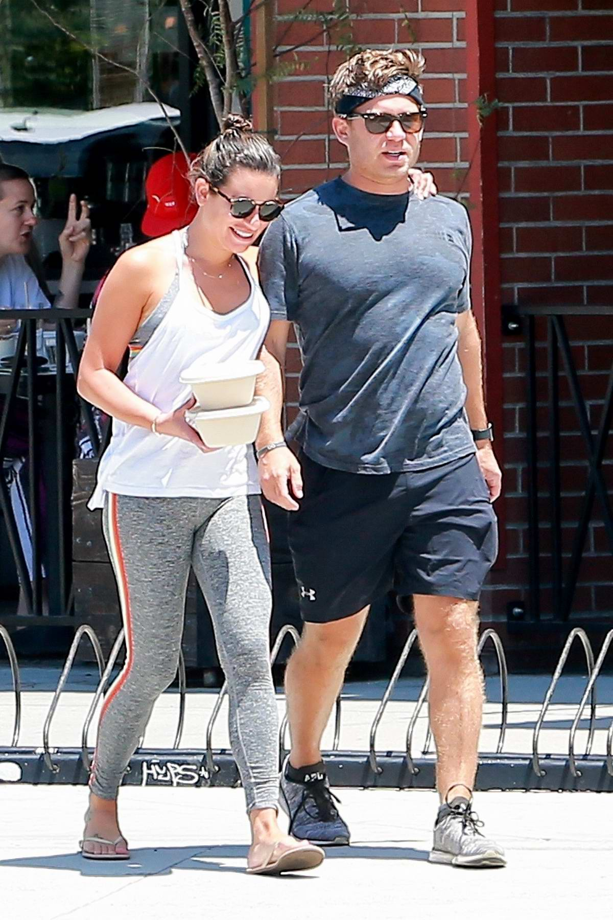 Lea Michele and husband Zandy Reich grab lunch at Cafe Gratitude in Venice Beach, California