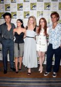 Lili Reinhart, Camila Mendes, and Madelaine Petsch attend 'Riverdale' photocall during 2019 Comic-Con in San Diego, California