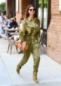 Lily Aldridge puts on a stylish display as she steps out in a green jumpsuit in Tribeca, New York City