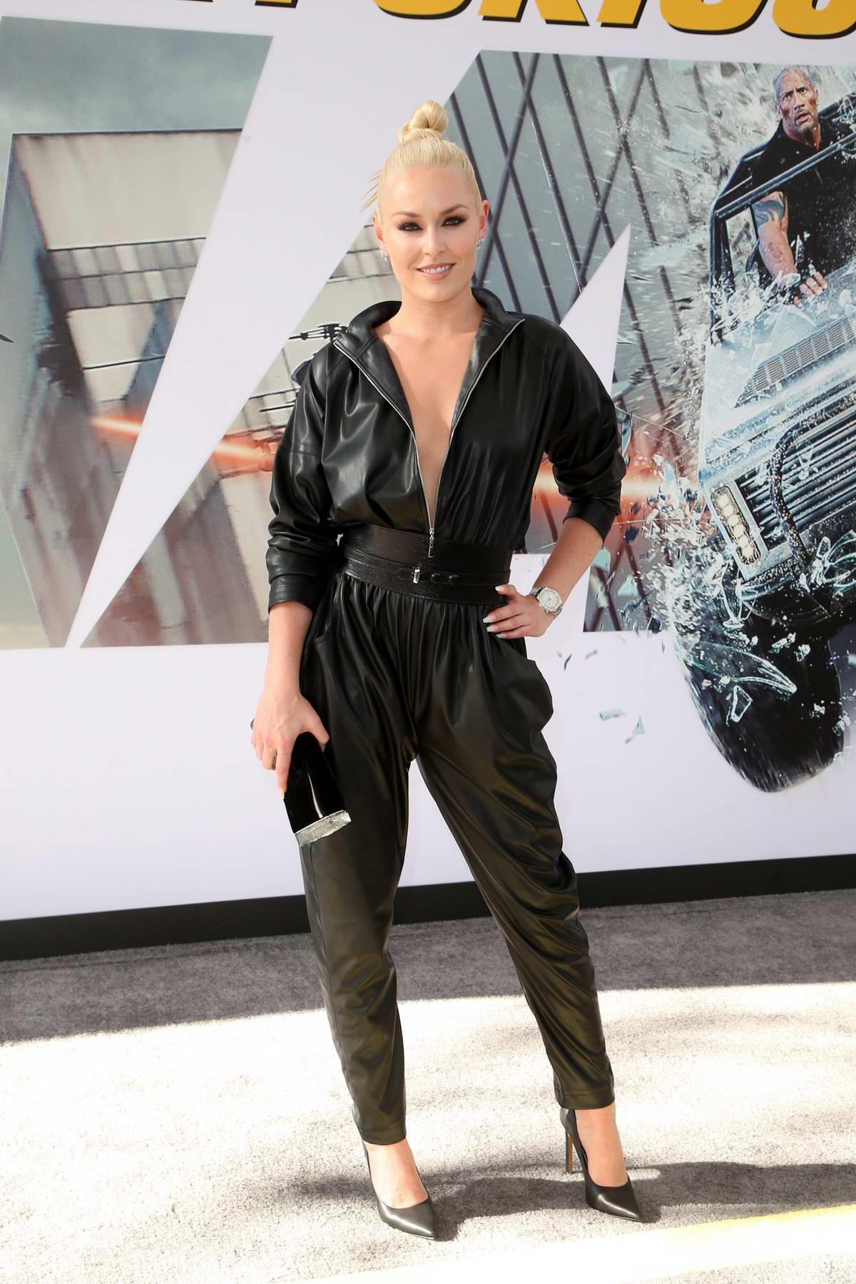 Lindsey Vonn attends the Premiere of 'Fast & Furious Presents: Hobbs & Shaw' at Dolby Theatre in Hollywood, California