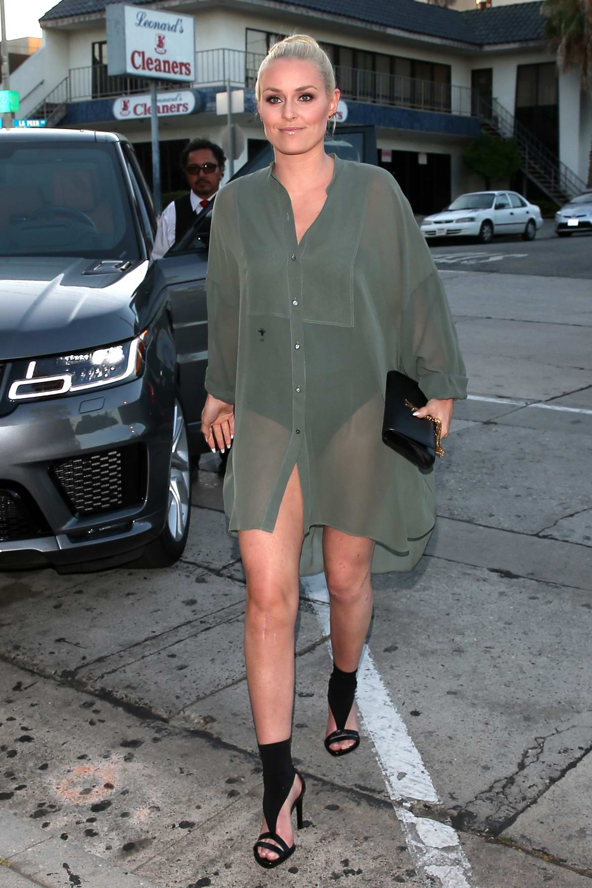 Lindsey Vonn wears a green sheer outfit for a dinner outing at Craig's in West Hollywood, Los Angeles