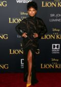 Logan Browning attends the premiere of Disney's 'The Lion King' at Dolby Theatre in Hollywood, California