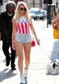 Lottie Moss flaunts her legs in tiny denim shorts as she stepped out with her pooch in London, UK