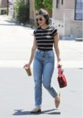 Lucy Hale gets her day started with an iced coffee at the Coffee Bean in Studio City, Los Angeles