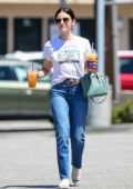 Lucy Hale seen leaving a hair salon before grabbing a couple of cold beverages from Coffee Bean in Los Angeles