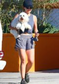Lucy Hale sports grey tank top with matching shorts while picking up her dog from the dog care in Studio City, Los Angeles