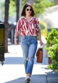 Lucy Hale stepped out in an animal print shirt and jeans while running errands in Los Angeles