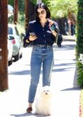 Lucy Hale takes her dog Elvis out for a morning walk in Studio City, Los Angeles