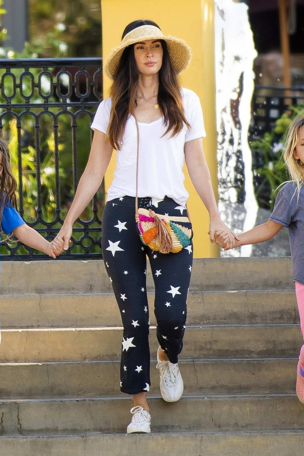 Megan Fox takes her girls to lunch at Sugarfish restaurant in Los Angeles