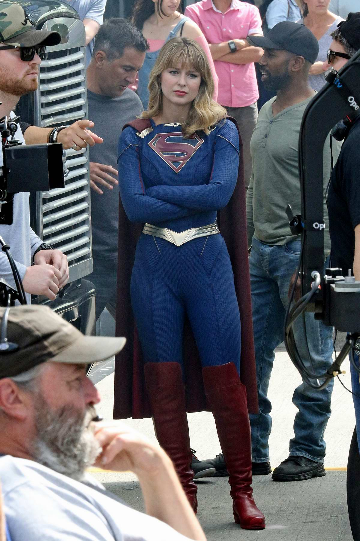 Melissa Benoist spotted in her Supergirl costume while on set of 'Supergirl' in Vancouver, Canada