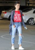 Mila Kunis gets her nails done at a local nail salon after lunch at Sweet Butter in Los Angeles