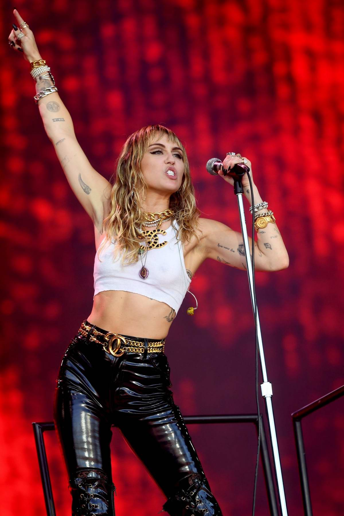 Miley Cyrus performs on the Pyramid stage during day five of Glastonbury Festival at Worthy Farm, Pilton in Glastonbury, UK