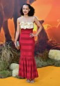 Nathalie Emmanuel attends the European Premiere of Disney's 'The Lion King' European in Leicester Square, London, UK