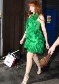 Nicola Roberts steps out in a green dress in London, UK