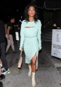 Nicole Scherzinger wears a powder blue dress while arriving for dinner at Catch Restaurant in Los Angeles