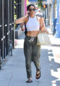 Nikki Bella shows off her toned abs in a cropped tank top and sweatpants while out in West Hollywood, Los Angeles