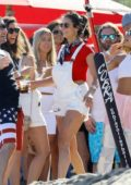 Nina Dobrev and Jamie Foxx spend 4th of July playing volleyball at Leonardo DiCaprio's house in Malibu, California
