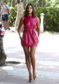 Olivia Culpo looks dazzling in a short pink dress as she leaves the W Hotel in Miami, Florida