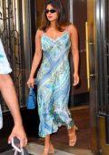 Priyanka Chopra seen wearing a blue floral print dress as she heads out in New York City