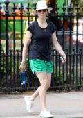 Rachel Weisz keeps it casual with a black t-shirt and green shorts while visiting a nail salon in London, UK