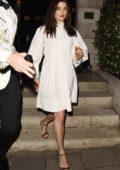 Rachel Weisz looks classy in a white dress as she leaves Annabel's Club in London, UK