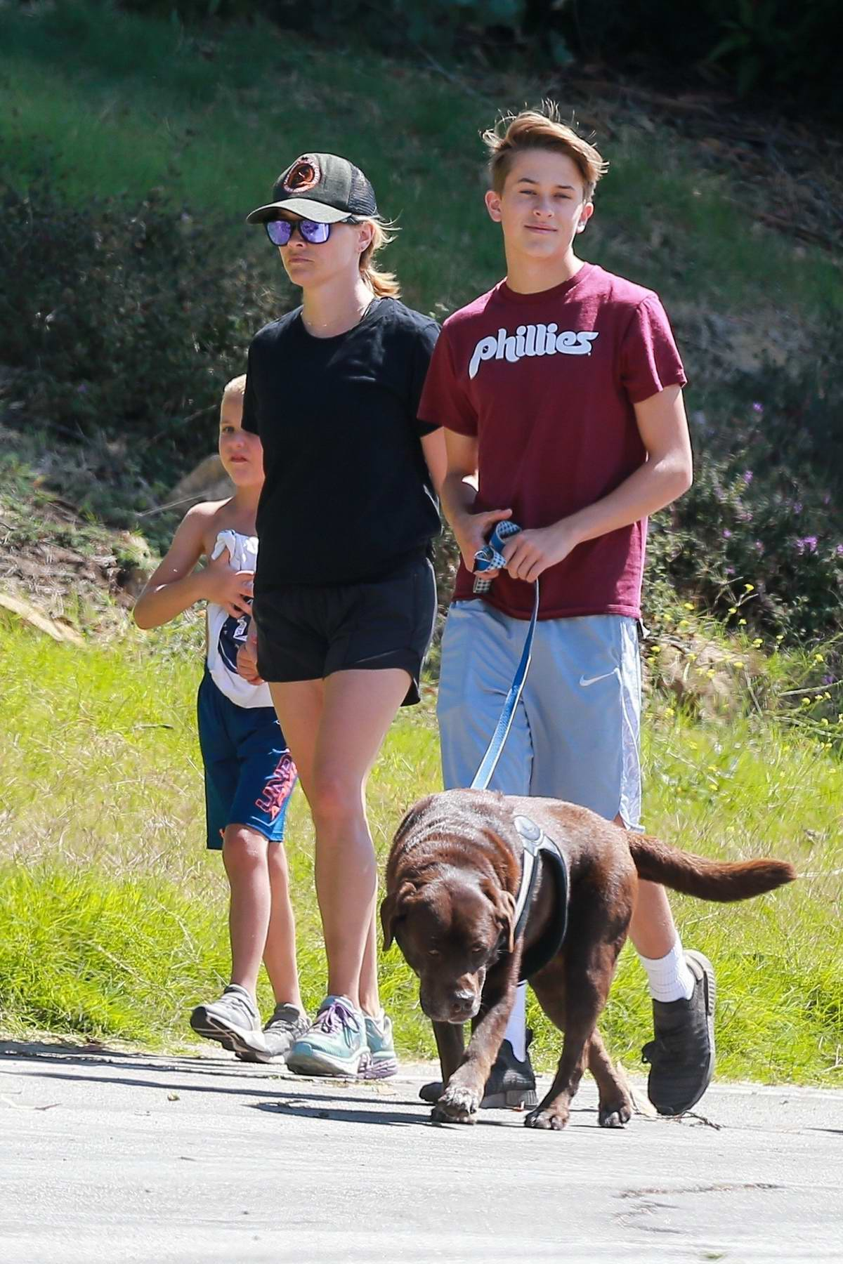 Reese Witherspoon goes for a hike with her family in Los Angeles