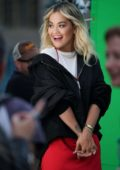 Rita Ora spotted while filming for a 'Rimmel London' commercial in London, UK