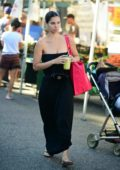 Roselyn Sanchez wears a black sundress while shopping at the Farmers Market in Studio City, Los Angeles