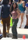 Salma Hayek and Owen Wilson seen while filming for 'Bliss' in downtown Los Angeles