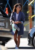 Sarah Hyland debuts her new straightened hairdo after an hour at the Drybar salon in Studio City, Los Angeles