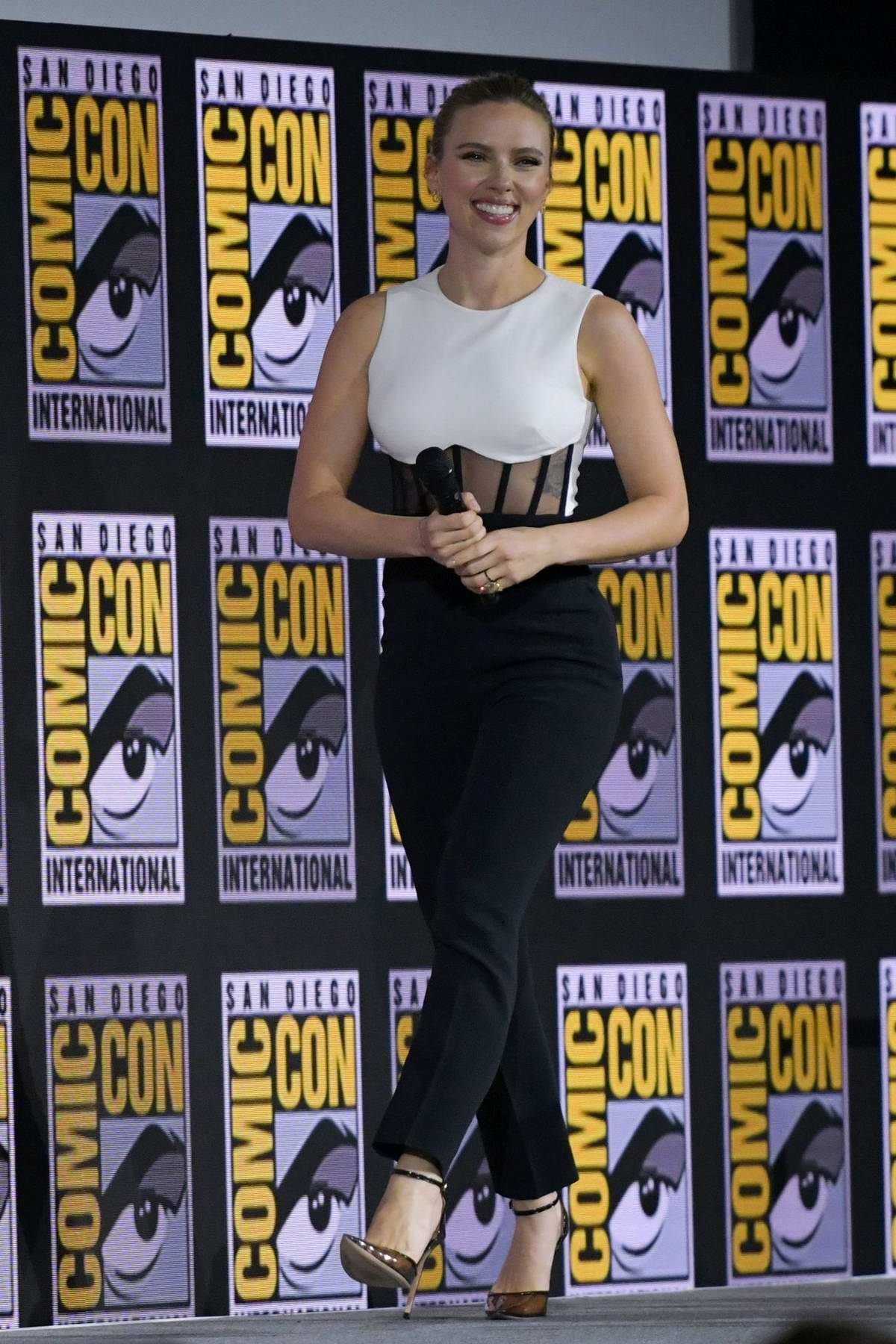 Scarlett Johansson attends the 'Marvel' panel during 2019 Comic Con International in San Diego, California