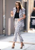 Shailene Woodley looks stylish in a patterned pantsuit as she heads for her appearance on 'Jimmy Kimmel Live!' in Hollywood, California