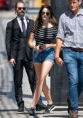 Shailene Woodley wears a striped top and denim shorts while arriving at 'Jimmy Kimmel Live!' in Hollywood, California