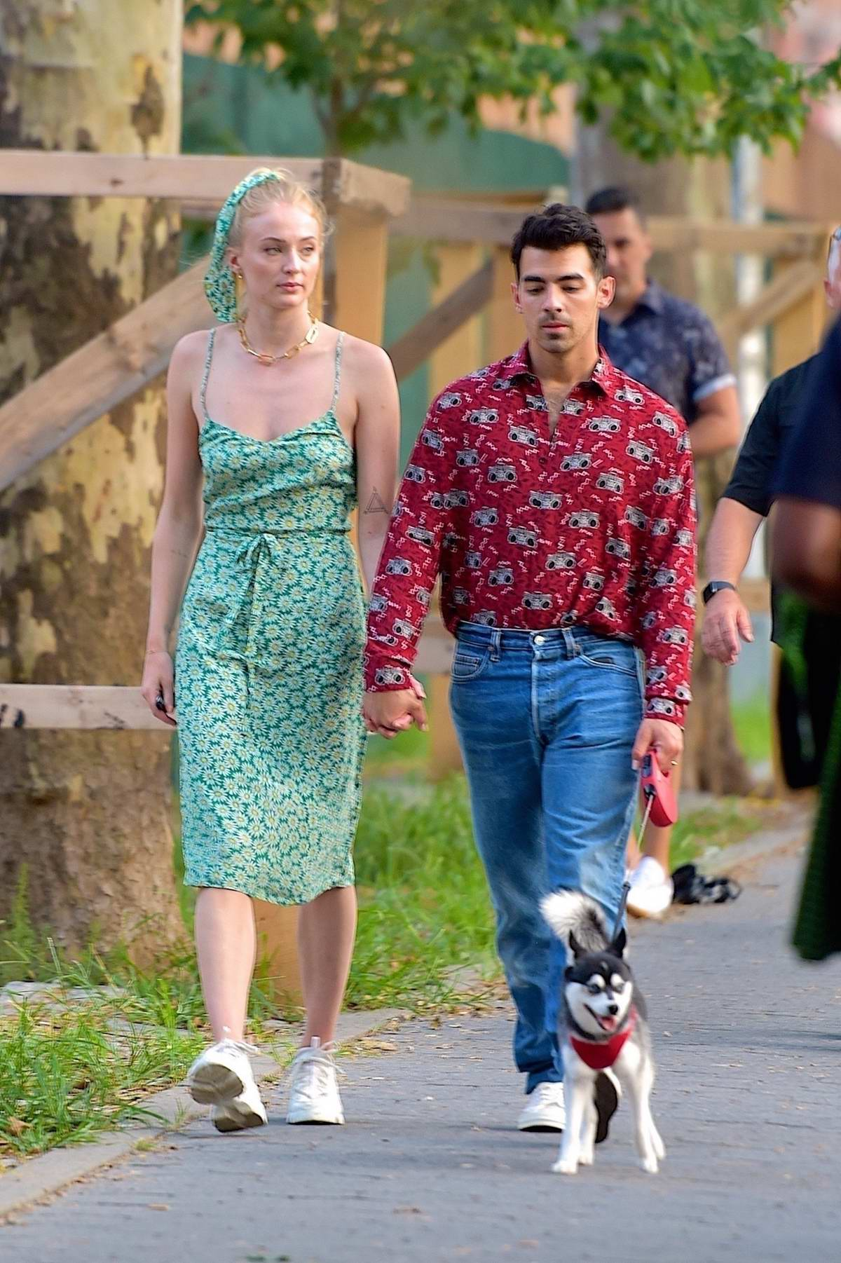 Sophie Turner and Joe Jonas steps out for a stroll with their dog in New York City