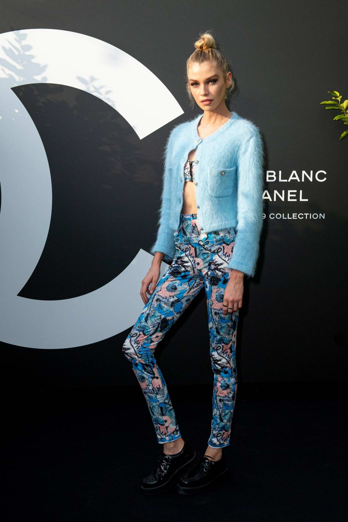 Stella Maxwell attends the Noir et Blanc de Chanel F/W 2019 'Yachts De Paris' Makeup Collection launch in Paris, France