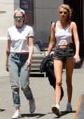 Stella Maxwell shows off her long legs while out shopping with Kristen Stewart in Los Angeles