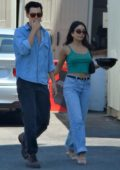 Vanessa Hudgens dons a green crop top and jeans while out for lunch with Austin Butler in Los Feliz, California