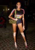Winnie Harlow shows off her long legs as she parties at The Ivy Chelsea Garden in London, UK